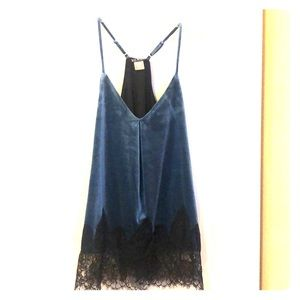 Cute velvet lines top with black lace bottom